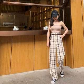 Checkered Long Pants Red/Maroon/Brown/Beige