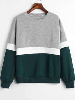 FREE SHIPPING!!! Paneled Color Block Fleece Sweatshirt
