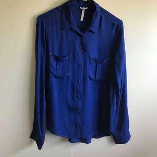 Bershka Blue Collared Blouse Top (Size M)