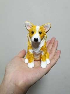 Custonise dog figurine corgi made of polymer clay