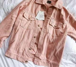 Jaket jeans pink pastel / soft pink jaket denim cod bandung