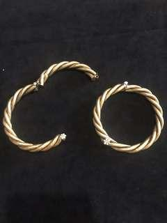 1910s-20s Peranakan Silver Gold Gild Bangle Twisted Cord Design