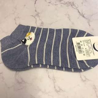 動物圖案船襪 - 藍色橫間貓貓
