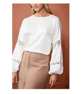 WITCHERY Boho Lace Insert Blouse in White Sz L - NWT