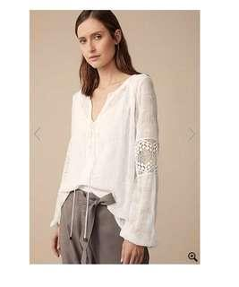 WITCHERY Bohemian Luxe Embroidered Tie Front Top Sz 16 - NWT