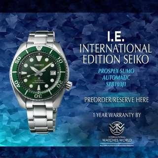 SEIKO INTERNATIONAL EDITION PROSPEX GREEN SUMO AUTOMATIC SPB103J1 SAPPHIRE CRYSTAL