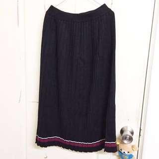 撞色厚針織長裙 黑