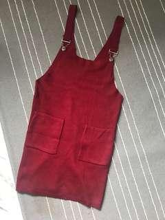🚚 Maroon pinafore knit dress