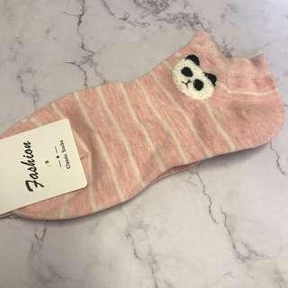 動物圖案船襪 - 粉色橫間熊貓