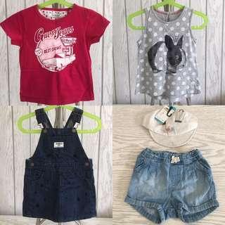 Tanktop baby M&S, T-shirt baby Guess, Rok overall Oshkosh baby, Celana jeans baby H&M, Hat bunny
