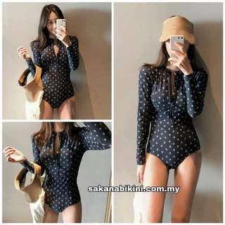 Zip-front long sleeves one piece swimsuit