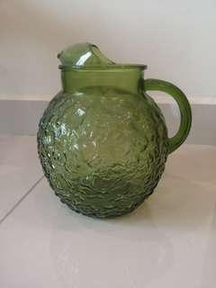 Emerald green glass juice jug