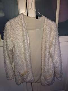H&M fluffy white cardigan