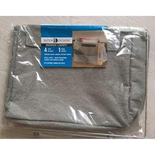 Bedside Caddy Storage Organizer for Phone, Tablet, Magazines, Water Bottle, Remote Control - 4 Deep pockets, 1 mesh pocket, Light Gray