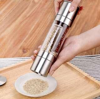Pepper Grinder 2 in 1 Stainless Steel Manual Salt & Pepper Mill Grinder Spice Kitchen Tools Accessories for Cooking Kitchenware Grinder
