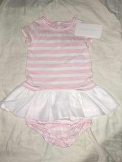 RALPH LAUREN Baby Girls kids Tulle striped dress and bloomer 6m pink