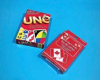 UNO cards & Canada deck of cards