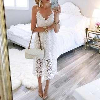 Lace midi dress.
