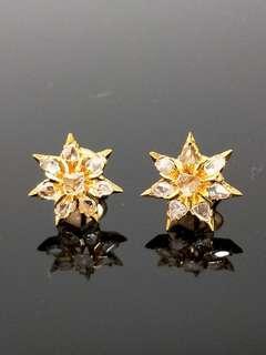 Vintage 18K Gold intan star 🌟 earrings Peranakan Straits Chinese Nyonya