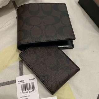 B new auth genuine leather 2 pc coach wallet