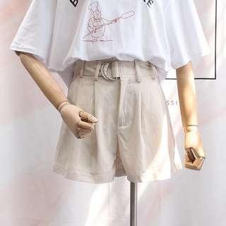《全新轉賣》純色壓褶腰帶寬鬆短褲