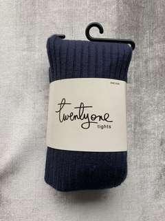 《美國購入》百搭款深藍色條紋褲襪