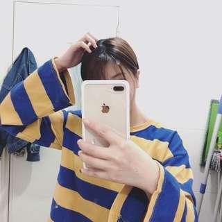 🦄韓妞穿搭🌸黃藍條紋上衣🌼