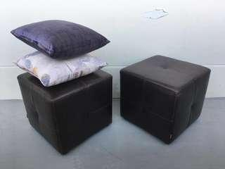 🚚 Dark Brown Leather Ottoman from Barang Barang