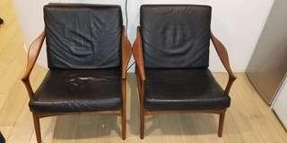 Scandanavian Designed Walnut + Leather Loungers