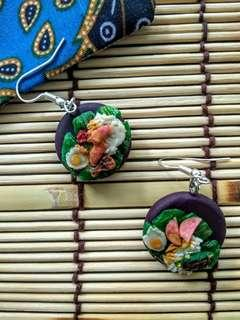 🚚 Handmade Nasi Lemak Clay Earrings in Purple