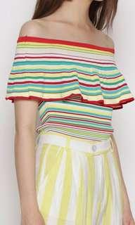 off shoulder knit rainbow stripes top