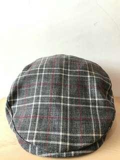🚚 (免運+近全新)典雅灰色條紋鴨舌帽,藝術家紳士帽