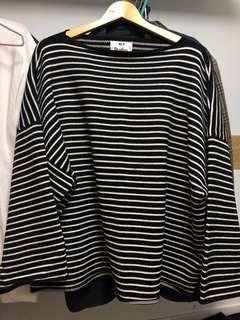 直間上衣 striped oversize sweater raf simons