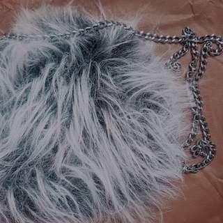 Grey & Black Faux Fur Crossbody