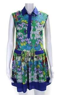 L'Amour Nanette Leopre Blue Green Floral Dress