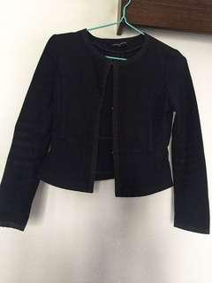 United Arrows Navy Blue Collarless Cropped Jacket