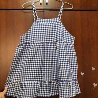 🚚 夏日藍色格子吊帶裙