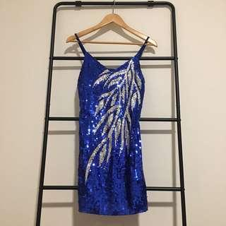 Blue & Silver Sequin Dress