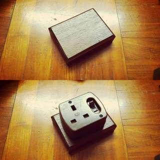 Vintage Switch Socket Wood Backing