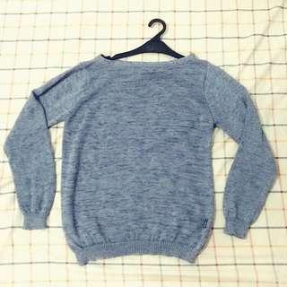 Wide Collar Grey Sweater