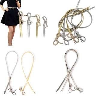 CELLY Women Metal Belt Bow Clasp Front Stretch Waist Strap Skinny Elastic Waist