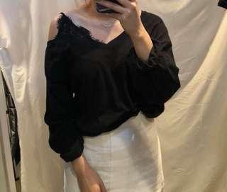 Made in Korea black lace top