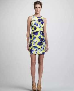 Authentic Milly Yellow Blue Floral Print Peplum Dress