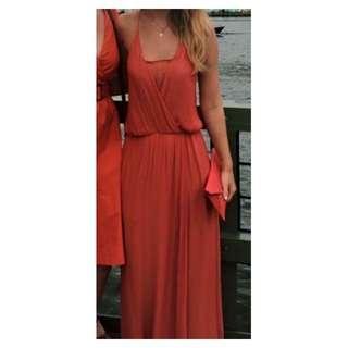 Zara Overlay Maxi Dress in Peach Rust