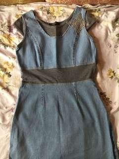 Beautiful Denim and grey dress