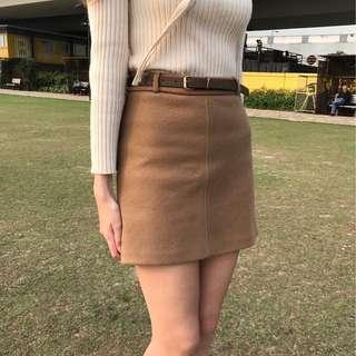 棉質啡色半截裙連皮帶