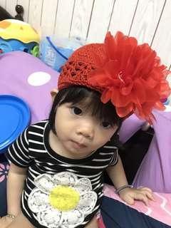 🚚 大花裝飾嬰兒女童針織網帽