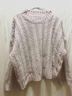 🚚 日日 粉杏色寬袖針織上衣