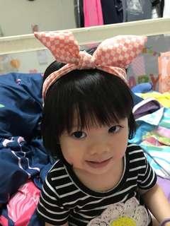 🚚 粉橘色格子蝴蝶結🎀嬰兒女童鬆緊髮帶