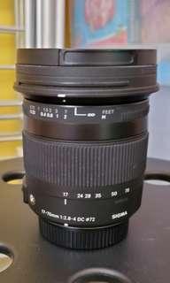Sigma 17-70mm F2.8-4 DC For Nikon